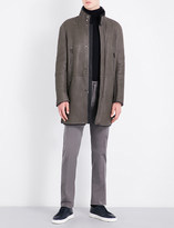 Armani Collezioni Stand-collar shearling and leather jacket
