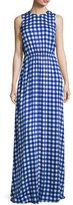 Diane von Furstenberg Check-Print Sleeveless Cinched-Waist Maxi Dress, Blue