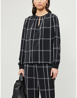 Ted Baker Melo check-print crepe top