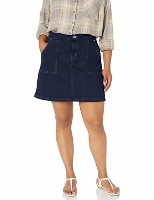 City Chic Women's Apparel Women's Plus Size Short Denim Skirt with Contrast Stitching