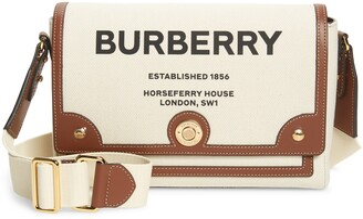 Burberry Medium Note Horseferry Logo Canvas & Leather Crossbody Bag