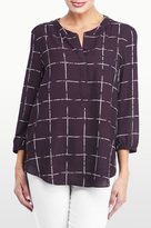 NYDJ Frosted Windowpanes Printed 3/4 Sleeve Blouse In Petite