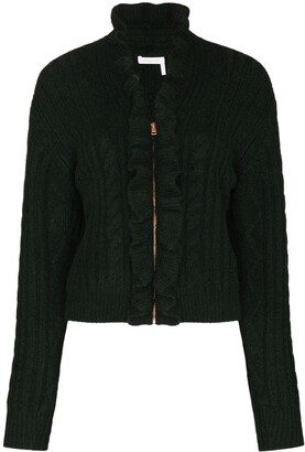 See by Chloe Cable Knit Zip-Up Cardigan