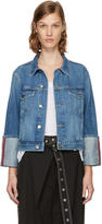 Frame Blue Denim Le Jacket Reverse Overlock Cuff Jacket