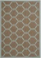 Safavieh Courtyard Collection CY6009-337 Brown and Aqua Indoor/Outdoor Area Rug, 5 Feet 3-Inch by 7 Feet 7-Inch