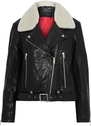 Rag & Bone Mackenzie Shearling-trimmed Washed-leather Biker Jacket