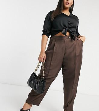 ASOS DESIGN Curve extreme dad pants in brown