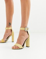 Glamorous metallic heels with diamante buckle