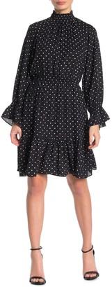 Donna Morgan Polka Dot Mock Neck Smocked Long Sleeve Dress (Petite)