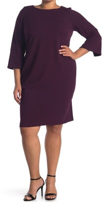 Calvin Klein Solid 3/4 Split Sleeve Sheath Dress