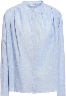 Joie Abidan Gathered Fil Coupe Cotton Shirt