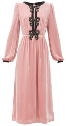 Saloni Camille Bow-embellished Velvet Midi Dress - Womens - Light Pink