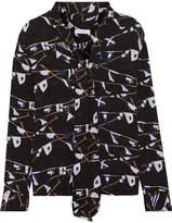 Equipment Brett Pussy-bow Printed Washed-silk Shirt