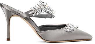 Manolo Blahnik Lurum 90 silver grey satin pumps