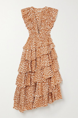 Ulla Johnson Viola Asymmetric Ruffled Cheetah-print Duchesse Silk-satin Midi Dress - Leopard print