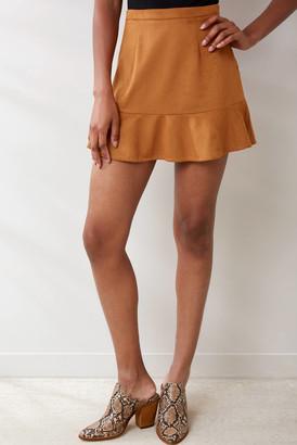 Abbeline Faux Suede Flounce Mini Skirt Camel M