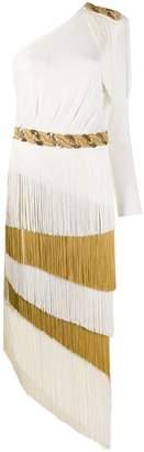 Elisabetta Franchi Fringed One-Shoulder Midi Dress