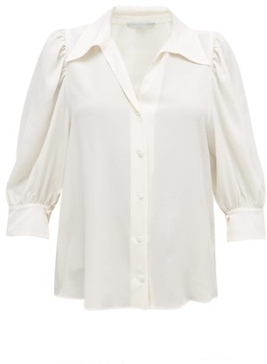Stella McCartney Balloon-sleeve Silk Blouse - Womens - Cream