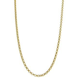 Primavera 24k Gold Over Silver Rolo Chain Necklace