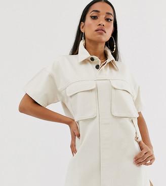 Asos DESIGN Petite denim boxy shirt dress in ecru