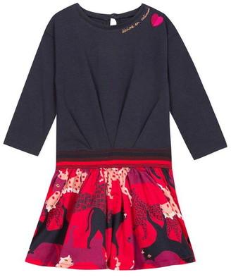 Catimini Two Material Long-Sleeved Dress