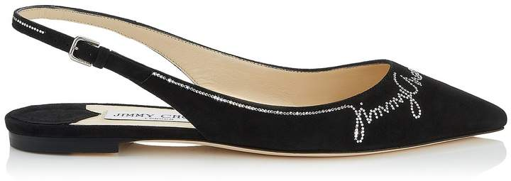 Jimmy Choo ERIN FLAT Black Suede Slingback Flat with Hotfix Jewel Logo