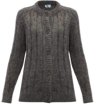 Prada Open-knit Mohair-blend Cardigan - Womens - Grey