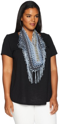 One World ONEWORLD Women's Plus Size Short Sleeve Knit Shirt with Fringe Scarf