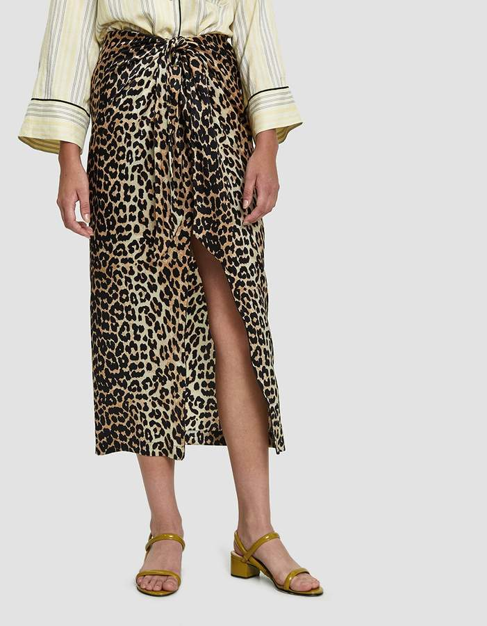Ganni Calla Silk Leopard Print Skirt