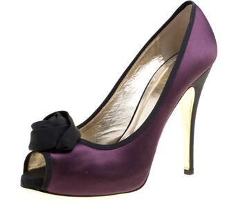 Valentino Two Tone Satin Rosette Peep Toe Platform Pumps Size 40