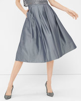White House Black Market Pleated Taffeta Midi Skirt