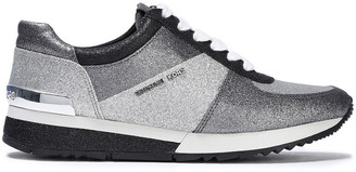 MICHAEL Michael Kors Allie Glittered Metallic Woven Sneakers
