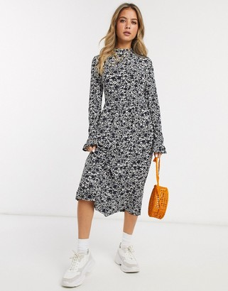 Miss Selfridge midi swing dress in black and white print