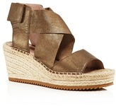 Eileen Fisher Metallic Leather Espadrille Wedge Sandals