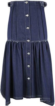 Chloé Off-shoulder Back Buttoned Denim Dress