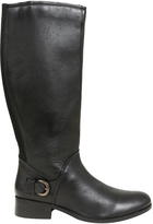 Yours Clothing Black Knee High Leather Riding Boot With Buckle Trim & XL Calf Fitting In EEE Fit