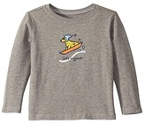 Life is Good Sled Dog Crusher Knit Tee (Toddler) (Heather Gray) Kid's T Shirt