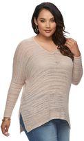 JLO by Jennifer Lopez Plus Size Lurex Drop-Shoulder Sweater