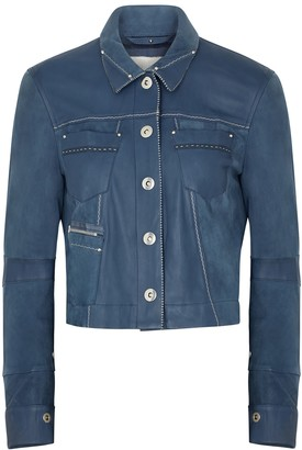 High Covert blue leather and suede jacket
