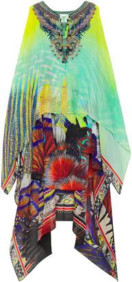 Camilla Asymmetric Layered Crystal-embellished Printed Chiffon And Silk Crepe De Chine Dress