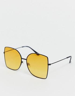 Asos Design DESIGN square metal oversized fashion glasses-Black