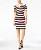 Armani Exchange Striped V-Neck Dress