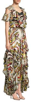 Faith Connexion Asymmetrical Floral High-Low Silk Maxi Dress