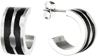 Gravelli Flow Concrete & Surgical Steel Hoop Earrings Anthracite
