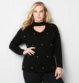 Avenue Pearl Embellished Choker Neck Sweater