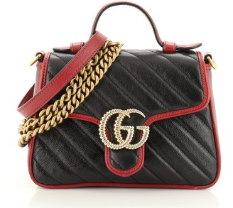 Gucci GG Marmont Top Handle Flap Bag Diagonal Quilted Leather Mini