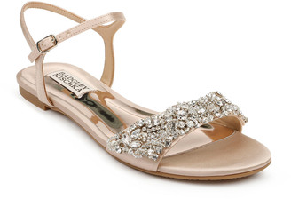 Badgley Mischka Carmella Bejeweled Silk Flat Sandals