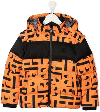 Boss Kidswear Zip-Up Logo-Print Down Jacket