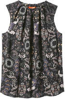 Joe Fresh Women's Print Sleeveless Blouse, Off White (Size M)