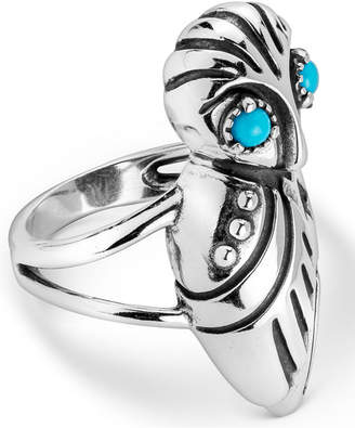 American West Turquoise Owl Ring in Sterling Silver